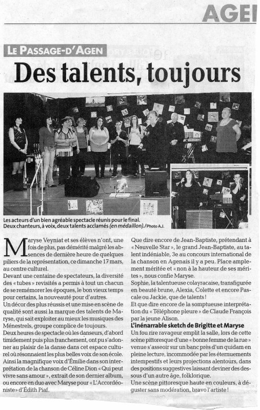 article de presse LE PETIT BLEU  vendredi 22 mars 2013